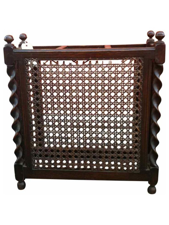 Barley Twist Umbrella Stand - Vintage, barley twist umbrella stand with original caning on front and sides; back and bottom are open.  Some separation of caning from top of frame of stand, as shown in picture.  Not overly noticeable if you don't know to look for it.