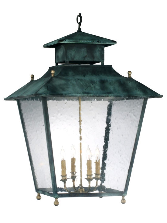 Lanternland - Normandie Pendant Style Hanging Copper Lantern by Lanternland - The Normandie Pendant Hanging Light, shown in Verdi Green with Seedy Glass, is made in America from high quality brass and copper for maximum strength and durability. The classic elegant style works well with traditional homes.