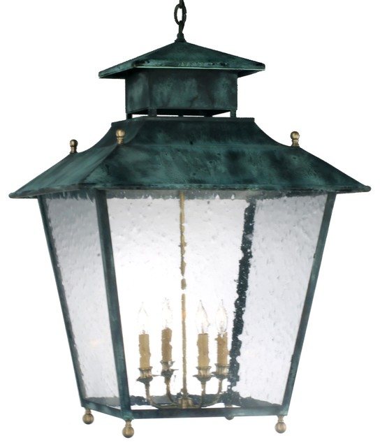 Normandie Pendant Style Hanging Copper Lantern by Lanternland traditional-pendant-lighting