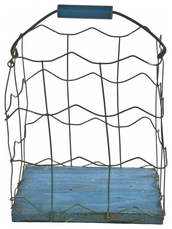 Handmade Wire Basket - Vintage handmade folk art wire basket with wood base and handle in blue and green finish.