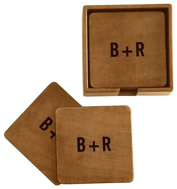 Rustic Leather Boxed Coasters contemporary-coasters