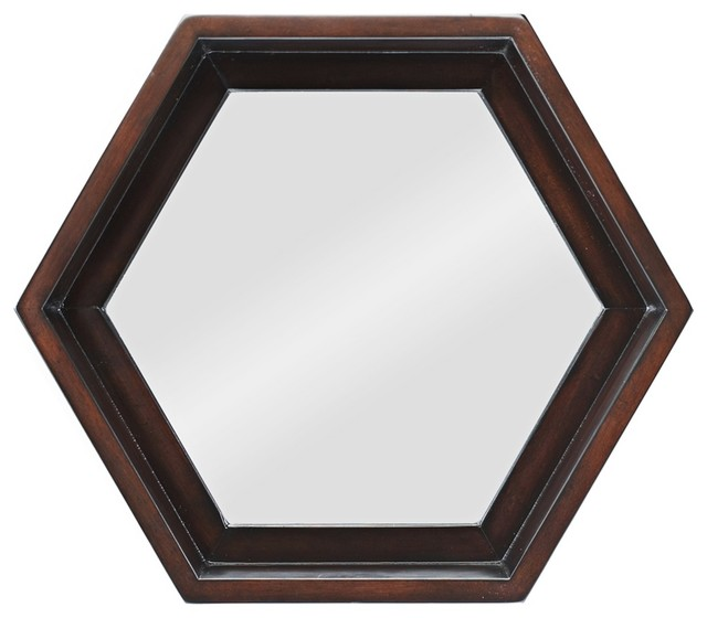 """Accent Mocha Finish Hexagon 20 1/2"""" Wide Wall Mirror traditional-mirrors"""