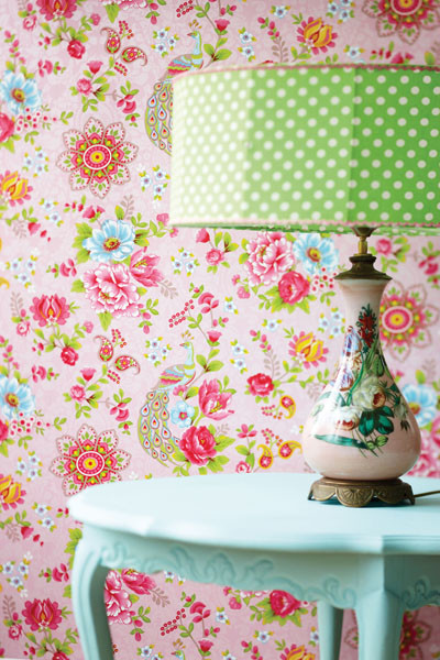 Pip Pink Paisley Floral Wallpaper eclectic