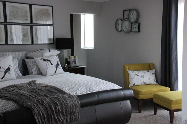 grey and mustard master bedroom