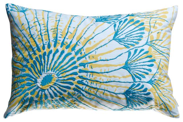 "Water Pillow, Blue/Mustard, 13"" x 20"" contemporary-decorative-pillows"