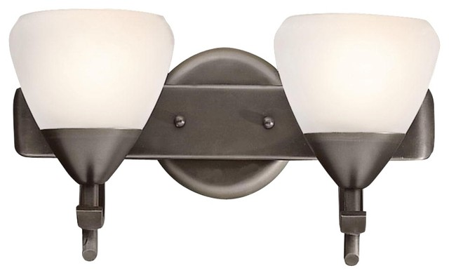 "Contemporary Kichler Olympia 13 1/4"" Wide 2-Light Bronze Bath Light contemporary-bathroom-vanity-lighting"