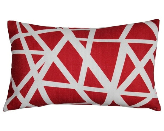 "Pillow Decor - Pillow Decor - Bird's Nest Red Throw Pillow 12X20 - This versatile geometric accent pillow is both modern and elegant. The bold bird""s nest pattern featuring dynamic white stripes on a red background will add contemporary flair to your home decor. The Bird's Nest Throw Pillow is a great addition to any contemporary designed room. The pillow is perfect as a standalone accent piece or can be used to creatively tie in other decor pieces such as abstract art objects. The bird""s nest design is printed on both sides on an indoor/outdoor spun polyester fabric."