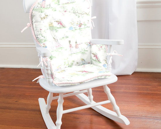 Pink Over the Moon Toile High Chair Pad - Body of high chair pad is in Nursery Rhyme Toile, with Pink Circles trim and Pink Circles ties.
