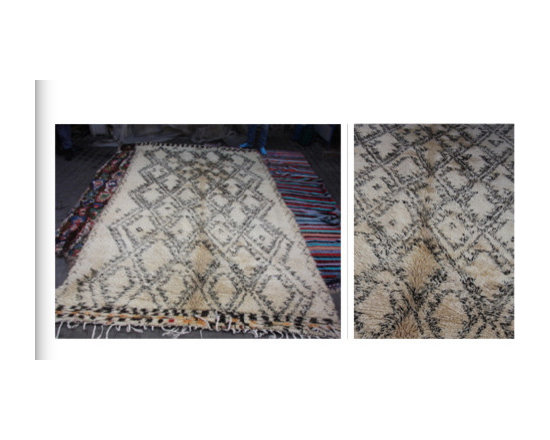 carpets from morocco - 3meter x 2meter silver and cream natural plush wool carpets hand woven in atals mountains of morocco.