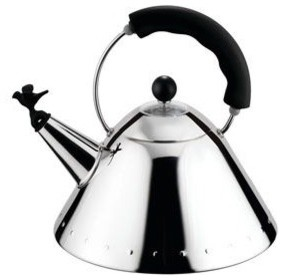 Alessi 9093 Kettle with Bird Whistle (Black) modern coffee makers and tea kettles