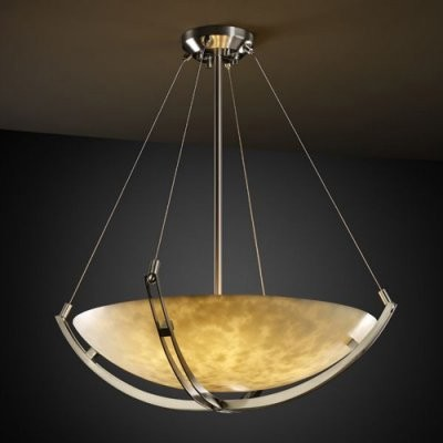 Justice Design Group Clouds CLD-9721-35-NCKL 18 in. Pendant Bowl with Crossbar - modern-ceiling-lighting
