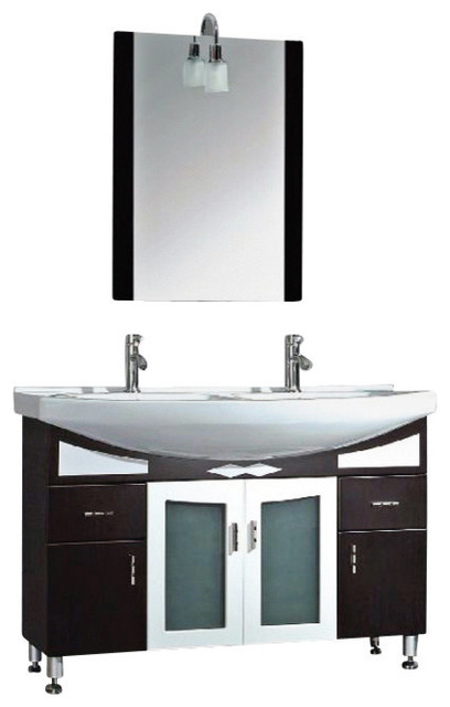 48 Inch Black Cherry Wood Porcelain Double Bathroom Vanity Set A