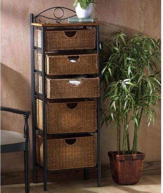 5-Drawer Wicker Storage Chest - Modern - Medicine Cabinets ...