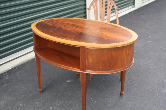 Vintage Oval Art Deco Desk-with Chair-1920s