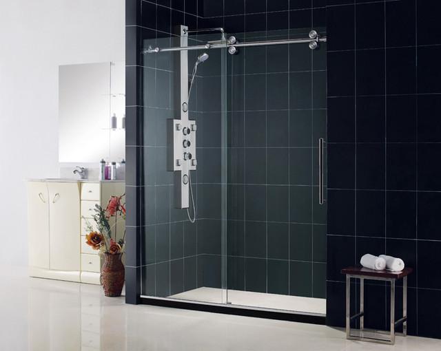 "ENIGMA 56""-60"" x 79"" Frameless Sliding Shower Door Polished Stainless Steel modern-showerheads-and-body-sprays"