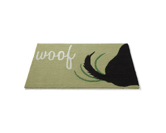 "Grandin Road - Woof Pet Mat - 24"" x 36"" - A true dog lover? Our mat makes a handsome touch inside any entryway, too. The solid ground is artfully enhanced with a script ""woof"" design and delightful wagging dog's tail motif. Quality hook and loop construction of high performance polyacrylic fibers won't roll over at the first sign of wear. For a faithful addition to virtually anywhere Rover likes to roam, roll out our Playful ""Woof"" Mat.  .  .  . Imported."