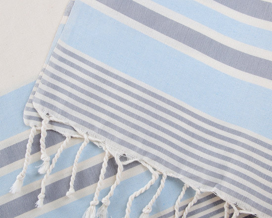 Turkish Hammam - All handmade authentic cotton Turkish pestemal. Woven by traditional methods. The ecru color Turkish Towel decorated with soft blue and grey stripes. The fine and easy-dry fabric is additionally very absorbent.