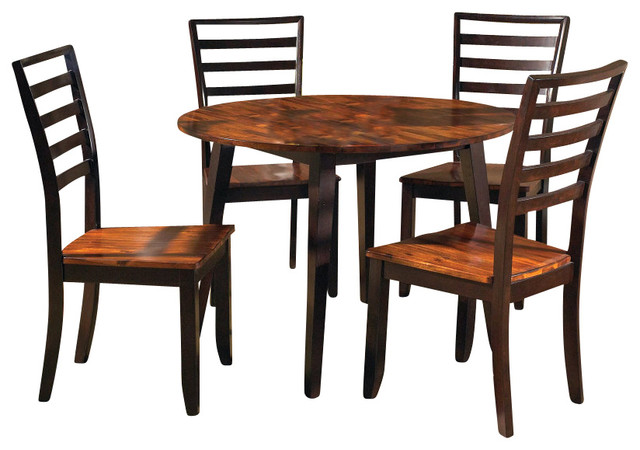 Steve silver abaco 5 piece double drop leaf 42 inch round for Dining room tables 42 round