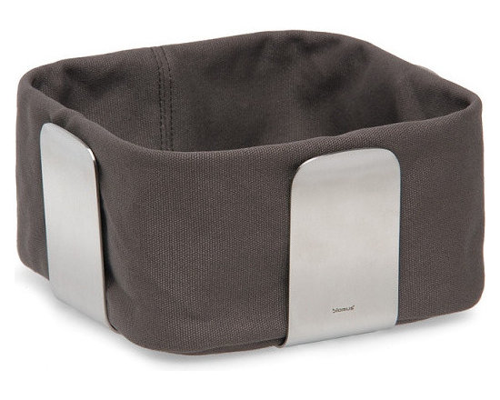 Blomus - Desa Bread Basket - Small, Mocha - The Desa Bread Basket from Blomus is available in your choice of 4 colors and 2 sizes. Made with brushed stainless steel and cotton fabric.