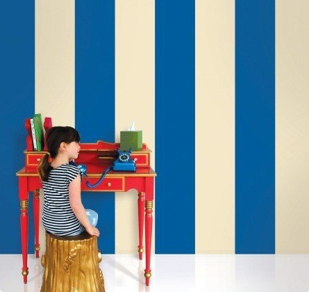 Wallcandy Arts Stripes Blue/Cream modern kids decor