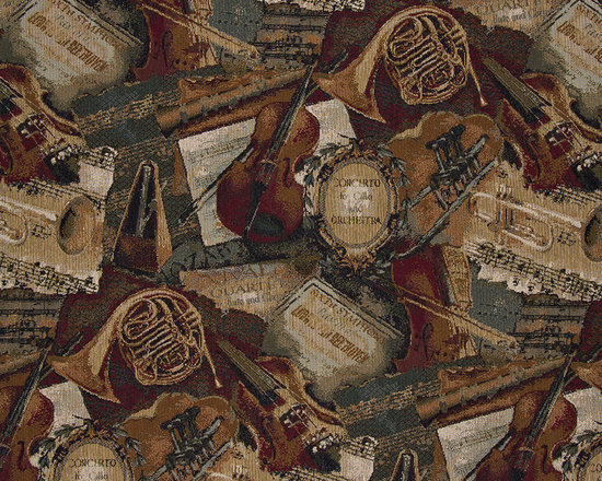 Orchestra Symphony Violins Trumpets Theme Tapestry Upholstery Fabric By The Yard - P1010 is an upholstery grade tapestry novelty fabric. This fabric is excellent for cabins, lodges, homes and commercial uses.