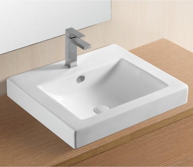 Beautiful White Ceramic Self Rimming Bathroom Sink by