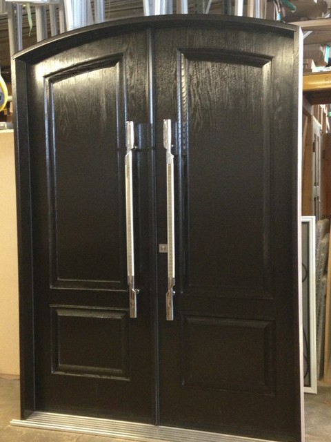 Hybrid doors (woodgrain fiberglass doors with solid wood panels) traditional-front-doors
