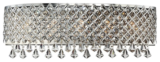 "Contemporary Chrome Band Around Crystal 23 1/2"" Wide Bath Light Fixture contemporary-bathroom-vanity-lighting"