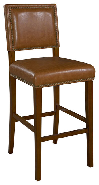 Linon Brook 24 Inch Caramel Counter Stool in Brown transitional-bar-stools-and-counter-stools