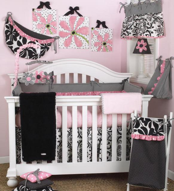 Girly 7 Piece Crib Bedding Set contemporary-baby-bedding