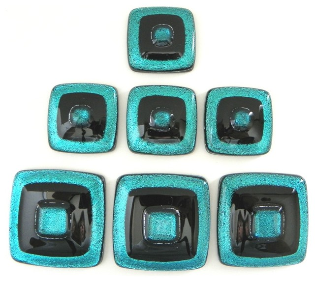 Teal and black artisan dichroic glass knobs by Uneek Glass Fusions. modern-cabinet-and-drawer-knobs