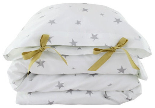 Organic Toddler Bedding Set, Stars, Gray by Colette Bream contemporary-kids-bedding