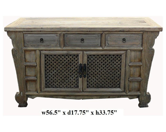 Rustic Raw Wood Bold Look Sideboard Buffet Table -