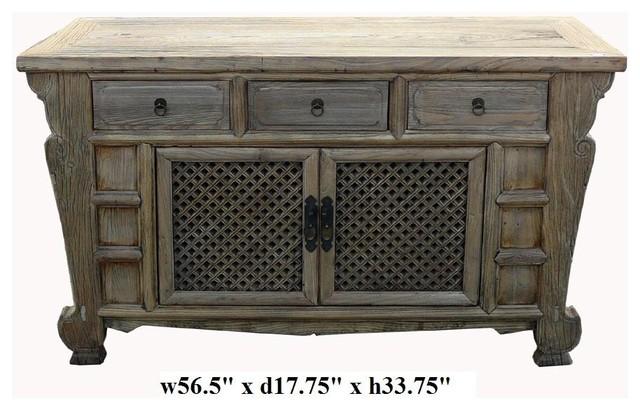 Rustic Raw Wood Bold Look Sideboard Buffet Table