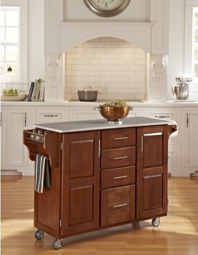 Create-A-Cart Kitchen Cart with Marble Top modern-kitchen-islands-and-kitchen-carts