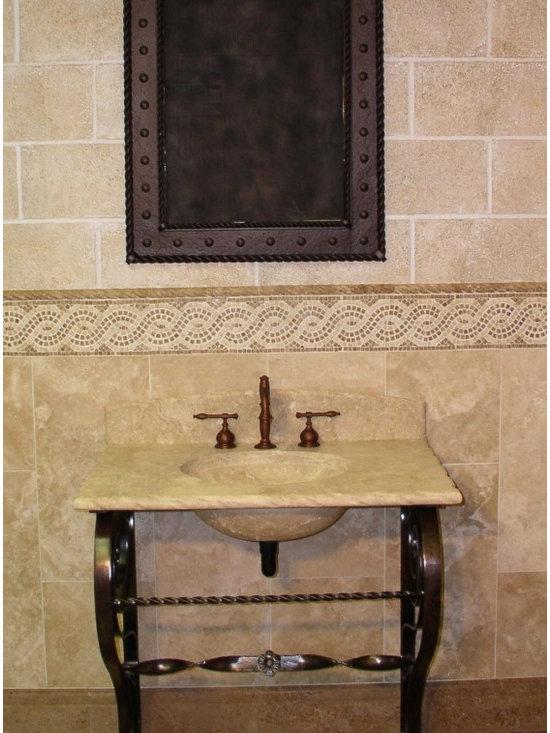 """Vanities  wrought iron and stone - Atene in Limestone Durango vanity  32"""" w. 34"""" h. 22"""" d."""