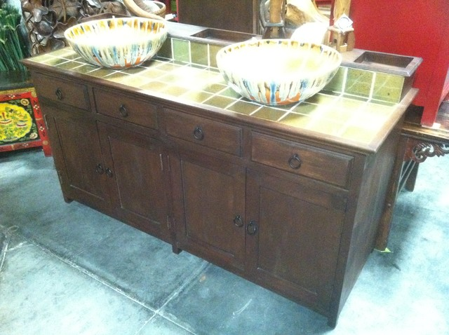 Reclaimed Teak Rustic Double Vanity Sink Eclectic Bath Products Tampa By Decor Direct