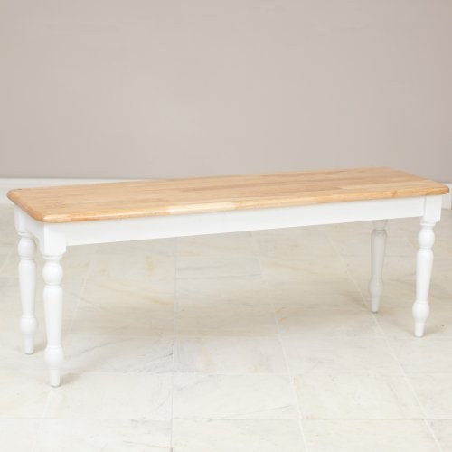 Boraam Farmhouse Dining Bench - White/Natural traditional-dining-benches