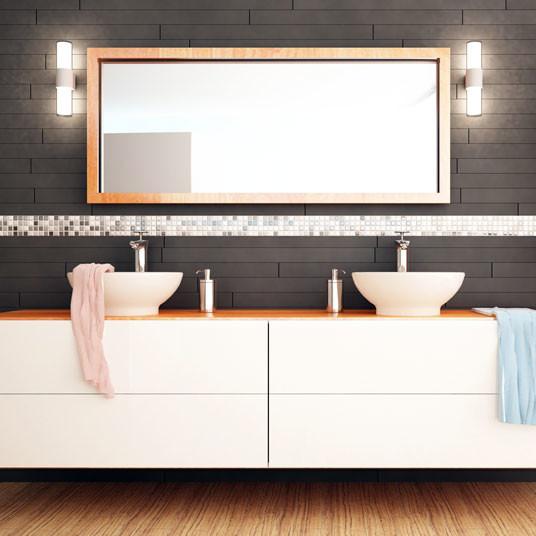 Custom Size Gold Frame Bathroom Mirror
