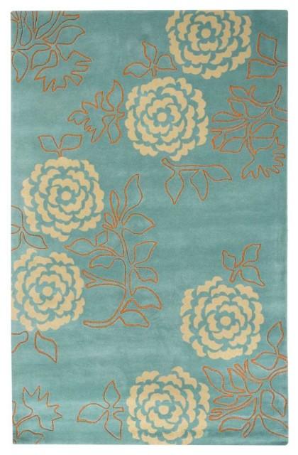 Wallflower Turquoise Rug traditional-rugs