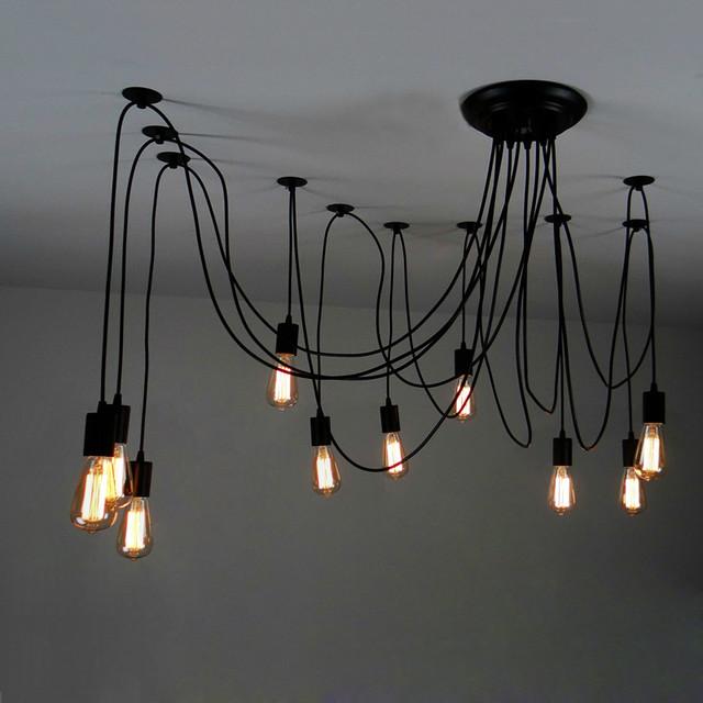 10 Light Adjustable Swag Multiple Pendant Black