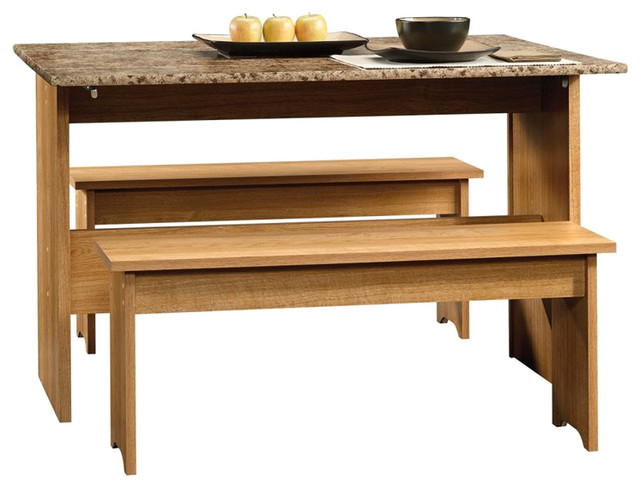 Sauder Beginnings Table with Benches in Highland Oak - Transitional - Dining Sets - by Cymax