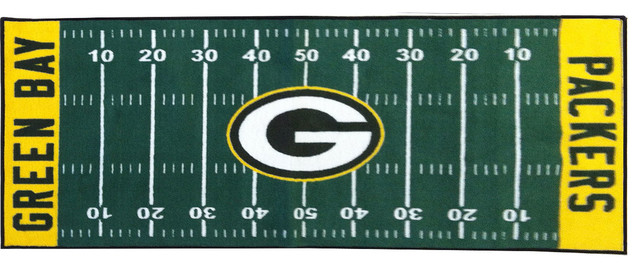 Nfl Green Bay Packers Football Runner Rug Contemporary Game Room And Bar Decor By Obedding