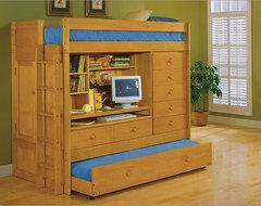 Tradewins Mountain River Computer Bunk Bed Bedroom Set modern-kids-beds