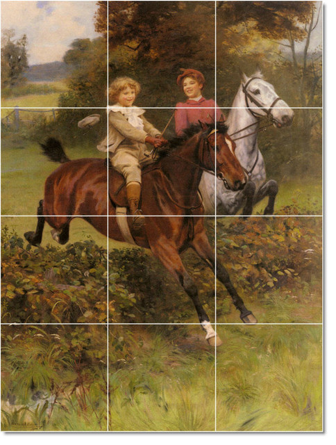 His First Fence Tile Mural By Arthur John Elsley traditional-tile-murals