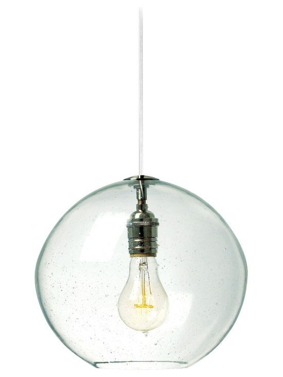 """LBL Lighting - LBL Isla Clear Nickel 9 3/4"""" Wide Pendant Light - The Isla contemporary pendant light features hand-blown art glass in an irregular round shape. It's crafted using an organic seeded technique for extra visual flair. This model has a transparent clear glass and satin nickel finish. From LBL Lighting. Satin nickel finish. Transparent clear organic seeded glass. Includes one 60 watt E26 base bulb. 9 3/4"""" wide. 8 3/4"""" high. Includes 6 feet field-cuttable cord. Canopy is 4 1/2"""" wide and 1/2"""" high.  Satin nickel finish.  Transparent clear organic seeded glass.  Includes one 60 watt E26 base bulb.  9 3/4"""" wide.  8 3/4"""" high.  Includes 6 feet field-cuttable cord.  Canopy is 4 1/2"""" wide and 1/2"""" high."""