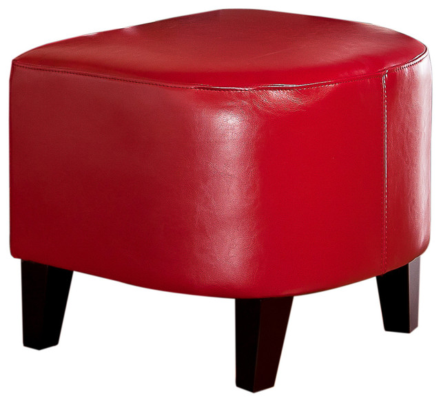 Russell Red Leather Ottoman contemporary-footstools-and-ottomans
