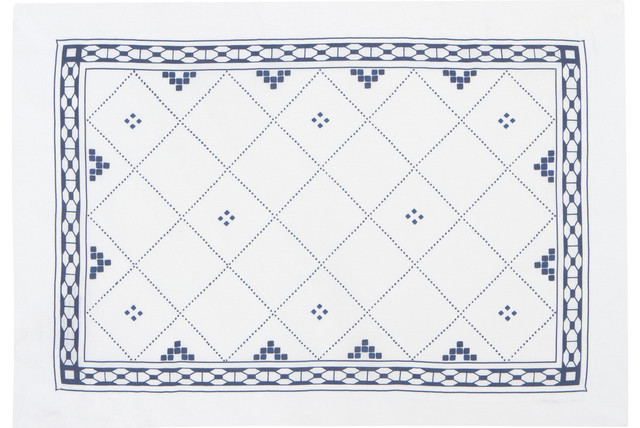 Blue and White Linen Placemats (Set of Four) by Huddleson contemporary-tablecloths