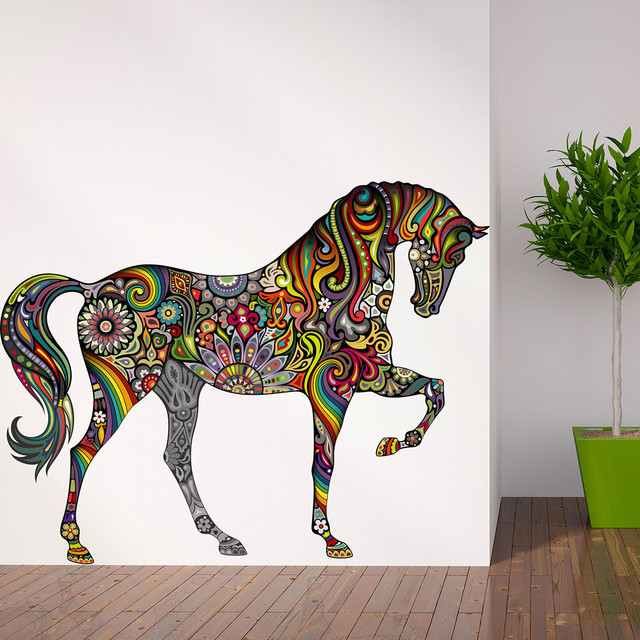 Horse of many colors wall decal contemporary wall for Horse wall decals