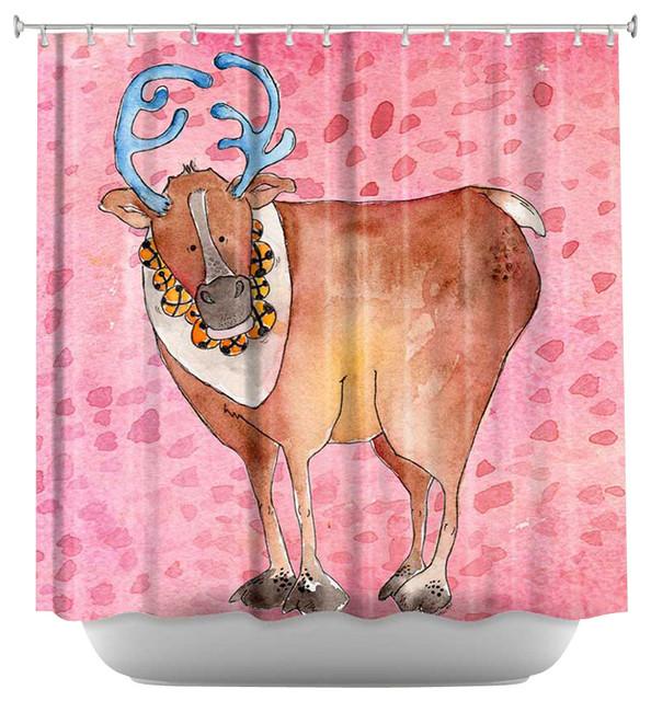 Shower Curtain Artistic - Reindeer Raspberry contemporary-shower-curtains